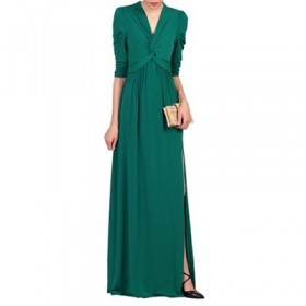 Jolie Moi Dark Green Twist Front Side Slit Maxi Dress Length: Shoulder point to hem 150cm V-neck 60514_FFN0085091