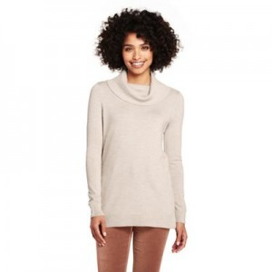 Lands' End Beige petite merino cowl neck tunic top Hip-covering length you love 61132_5020196TB