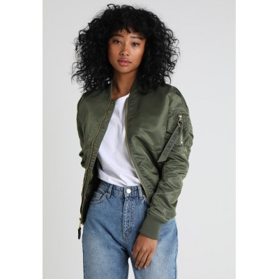 Alpha Industries Bomber Jacket sage green/gold Zip 100% nylon