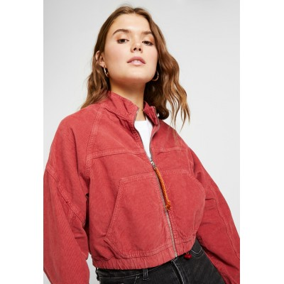 BDG Urban Outfitters BLAZE CROP Bomber Jacket red Zip 100% cotton