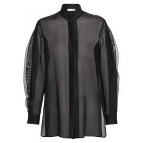 Akris punto Ruffled Wave Sheer SilkBlend Tunic Black Long wave pleated sleeves Concealed front button close 0400010591595