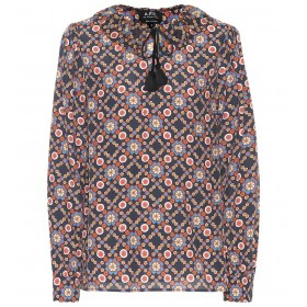 A.P.C. Debbie floral-printed blouse dark navy care instructions dry clean P00365307 VKPVMSV