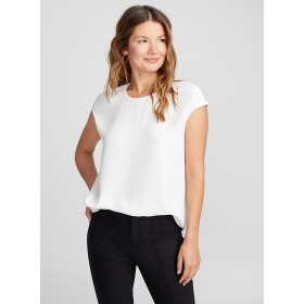 Contemporaine Cap-sleeve fluid crepe blouse edited modern fashion Very light and fluid crepe lined in front for an impeccable drape 8950-21608