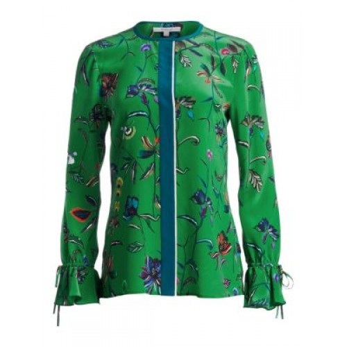 Derek Lam 10 Crosby Floral Silk BellSleeve Blouse Emerald Long sleeves Tie cuffs 0400011071338