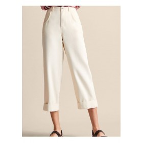 Massimo Dutti JOIN LIFE   Trousers white Concealed fly 52% lyocell, 48% cotton