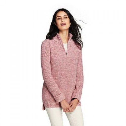 Lands' End Pink chunky knit high neck tunic jumper Soft lofty cotton blend Zip neck 61132 502356BAE