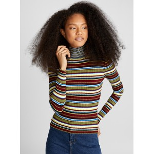 Twik Multi-stripe ribbed turtleneck eclectic trendy fashion Stretch nylon-viscose knit 6867-22613