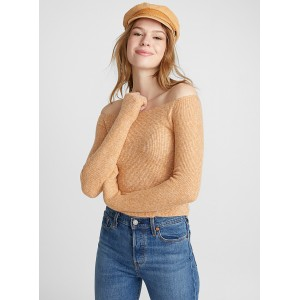 Twik Off the shoulder ribbed sweater eclectic trendy fashion Soft and cozy stretch knit 12462-23333