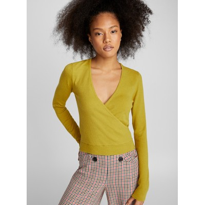 Twik Solid crossover sweater eclectic trendy fashion Stretch nylon-viscose knit 14977-22959