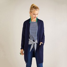 Yumi Navy oversized longline knitted cardigan Plunge neck Long sleeves 62575_YM1117A43