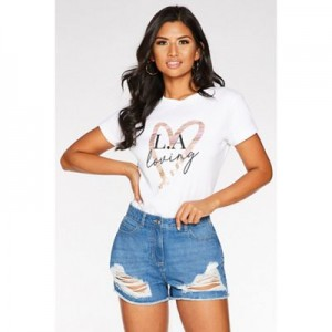 Quiz Blue Ripped Denim Shorts Ripped style Pocket detail 61252_281833